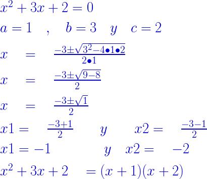 ejemplo aplicacion de ecuacion cuadratica en trinomio