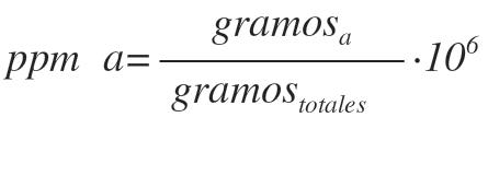 partes por millon formula