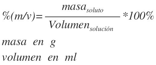 porcentaje masa volumen quimica