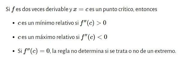 maximos y minimos criterio segunda derivada